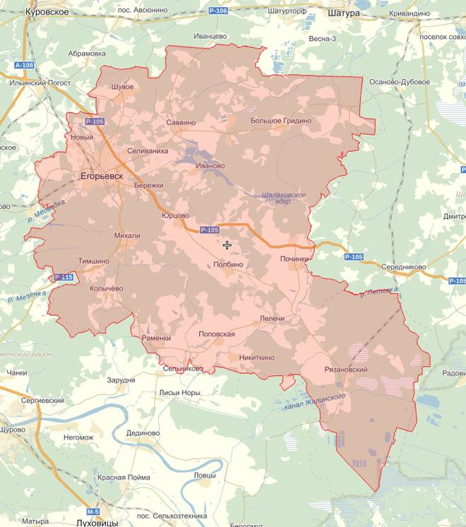 при бурении скважины на воду учитываем границы егорьевского района на карте московской области