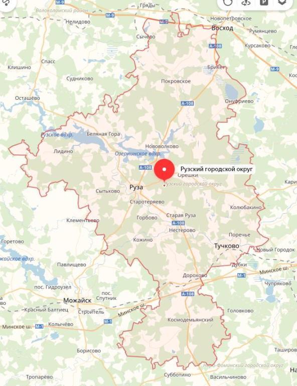 очертания границ Рузского района на карте Подмосковья